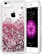 Caka iPhone 6 6S 7 8 Case, iPhone 6S Glitter Case with Tempered Glass Screen Protector Bling Flowing Floating Luxury Glitter Sparkle Soft TPU Liquid Case for iPhone 6 6S 7 8 (4.7 inch) (Rose Gold)