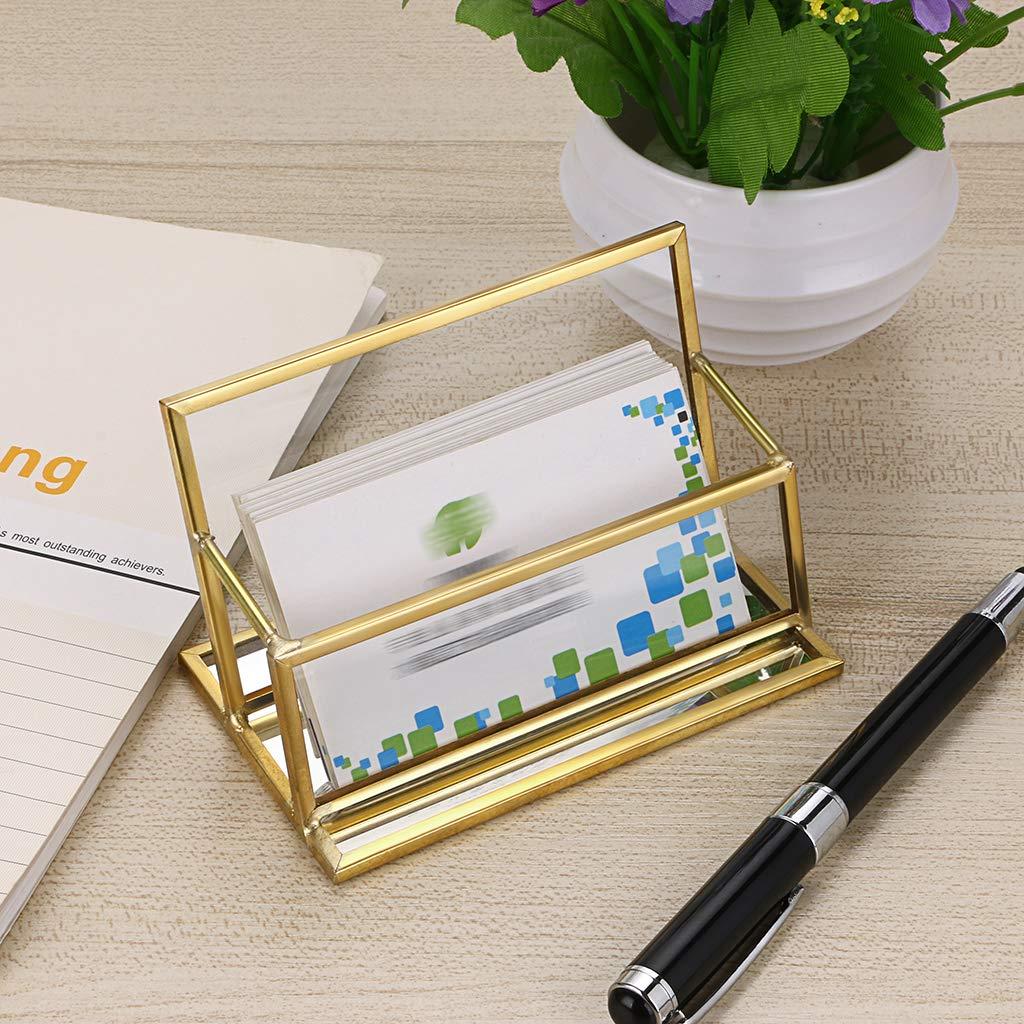 oro Porta biglietti da visita in vetro con 1 scomparto per biglietti da visita o per ufficio colore Sumnacon