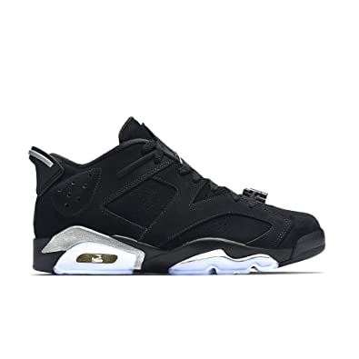 Nike Mens Air Jordan 6 Retro Low Black/Metallic Silver Leather Size 10