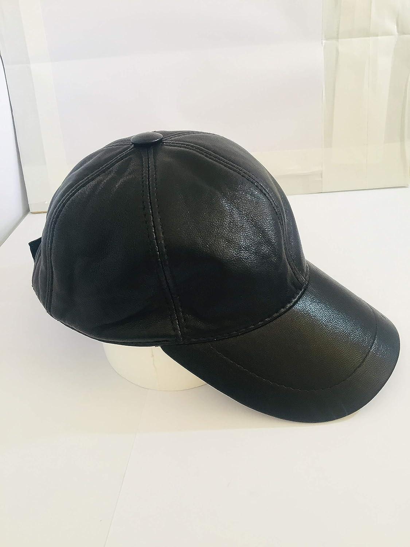 MENS Genuine 100/% Soft White Leather Pre Curved Peak Baseball Cap Hat