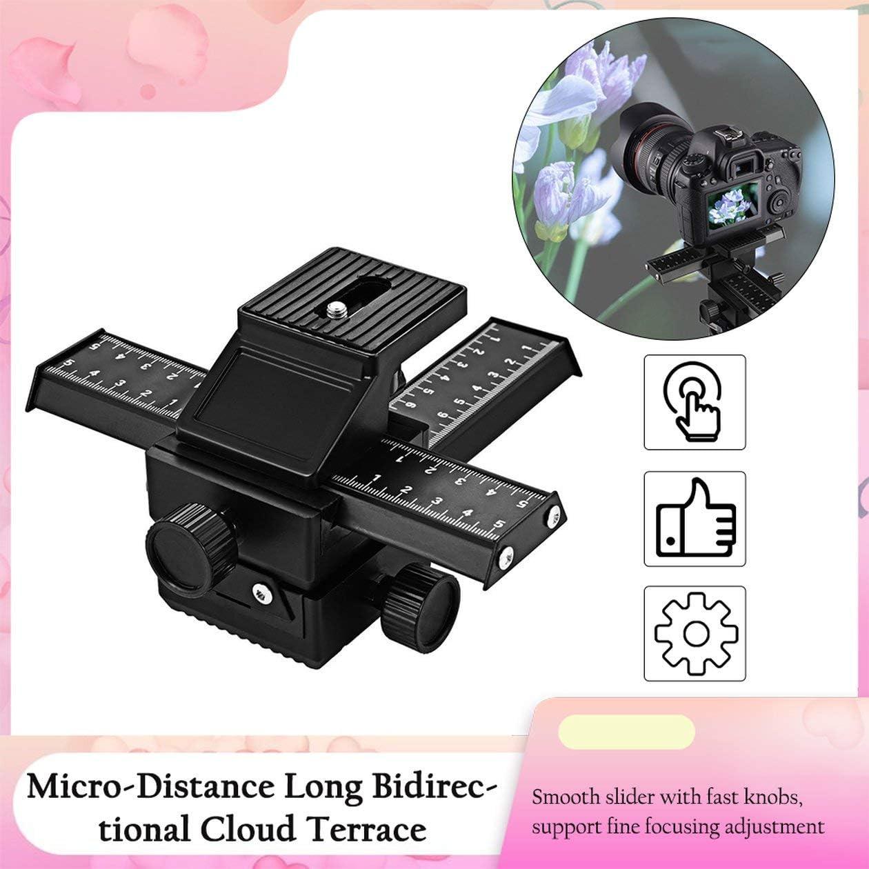 Pro 4 Way Magnesium Alloy Macro-Focusing Rail Slider Close-up Shooting Photography Tripod Head for DSLR Camera