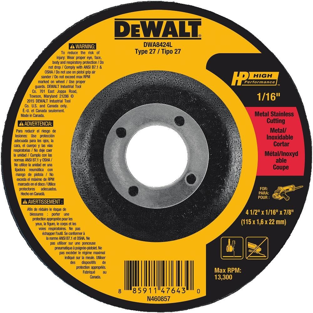 "DEWALT DWA8424L T27 HP Long Life Cut-Off Wheel, 4-1/2"" x 1/16"" x 7/8"""