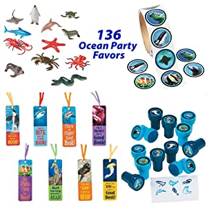 136 Ocean Theme Party Supplies for 12 Boys and Girls | Realistic Under the Sea and Shark Party Favors | Birthday Goody Bag Fillers | Sea Life Stickers, Ocean Animal Stampers, Cool Bookmarks for Kids, Ocean Animal Figures Toys