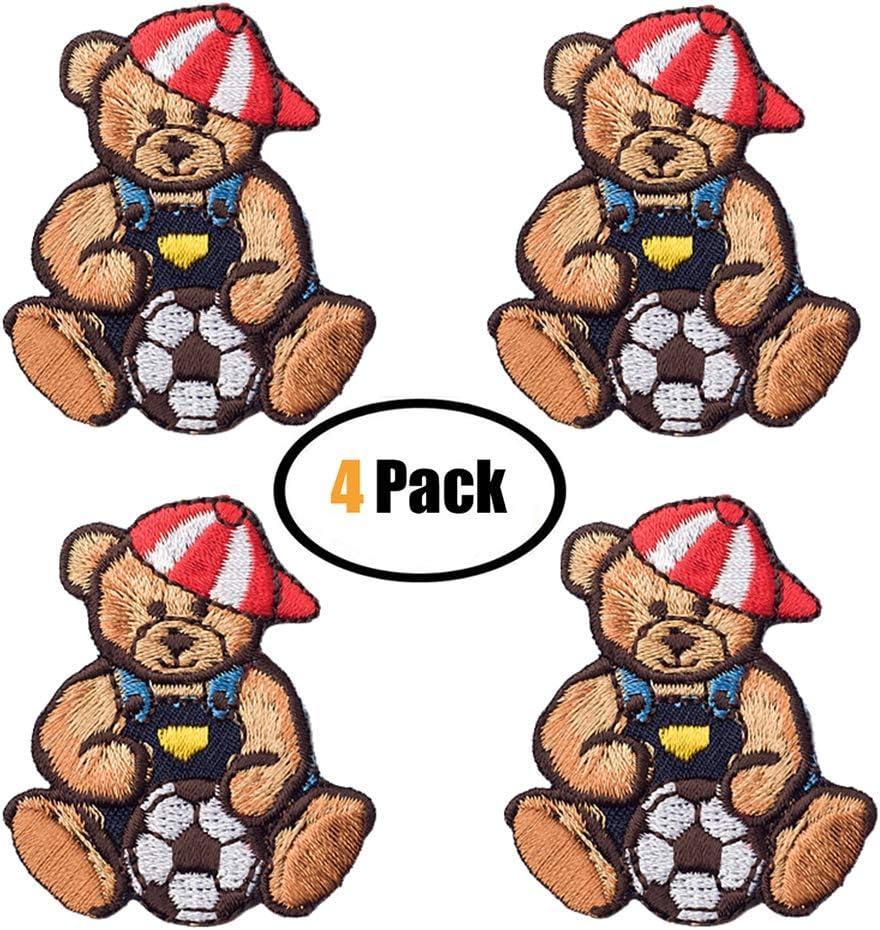4 parches bordados con diseño de oso bonito, parches para planchar ...