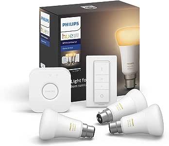 Philips Hue White Ambiance Smart Bulb Starter Kit - Bayonet Cap B22 (Compatible with Amazon Alexa, Apple HomeKit, and Google Assistant)