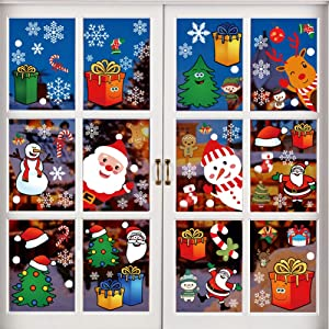 12 Sheet Christmas Window Clings Snowflake Decals Christmas Stickers Decorations for Holiday Santa Claus Elf Reindeer Ornaments Christmas Window Decals Xmas Party Supplies