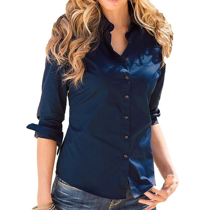 Hibote Camisas Mujeres Tops Mangas Largas Camisas Botones Blusas Moda Otoño Camisetas Casual Camisas Oficina Damas