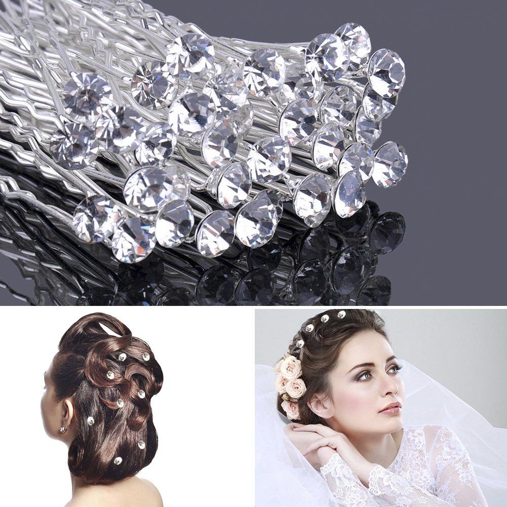 Bridal Hair Clips Fashion Hair Accessories Rhinestone Hairpins with Pearls Flower Shape Newbee BTUKA1/10240