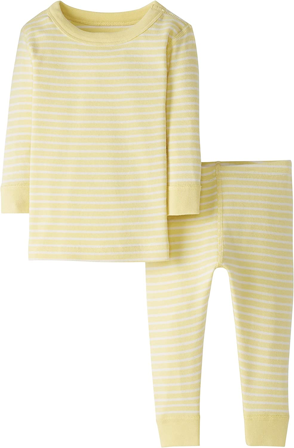Yellow Stripe 4T Moon and Back by Hanna Andersson Baby//Toddler 2-Piece Organic Cotton Long Sleeve Stripe Pajama Set