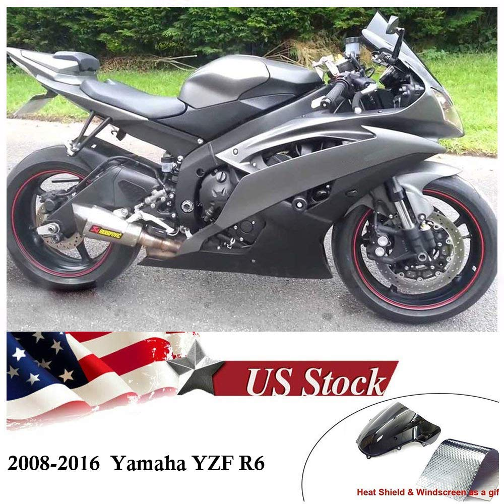 FocusAtOne White Silver Complete Fairing Bodywork Aftermarket Painted ABS Plastic Injection Molding Kit for 2008-2016 08-16 Yamaha R600 YZF-R6 2009 2010 2011 2012 2013 2014 2015