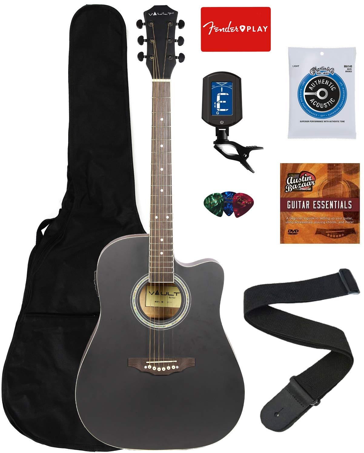 Vault EA10CEQ 41-Inch Dreadnought Cutaway Acoustic-Electric Guitar - Black Bundle with Gig Bag, Tuner, String, Picks, Strap, Fender Play Online Lessons, and Austin Bazaar Instructional DVD