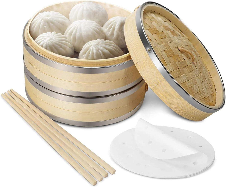 Yuxinkang Cuiseur /À Vapeur en Bambou Ensemble De Paniers /À Vapeur pour La Cuisson des Aliments Ensemble De Paniers /À Vapeur en Bambou De 8 Pouces avec Bord en Acier Inoxydable