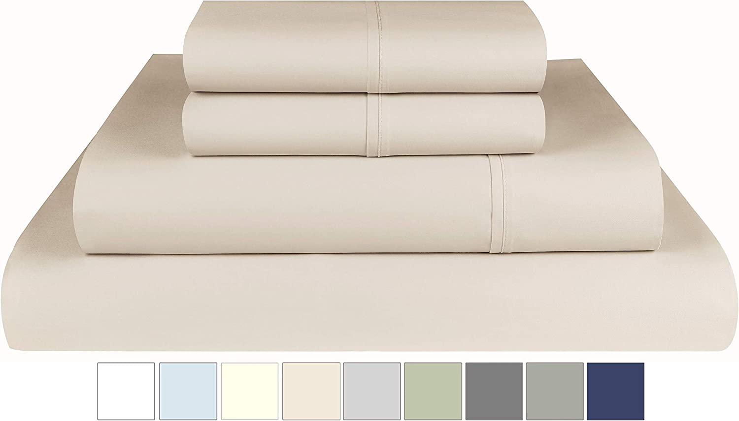 Threadmill Home Linen 800 Thread Count Twin Sheets Sets - 100% Extra Long Staple Cotton Sheets for Twin Size Bed, Luxury 3 Piece Bedding Set with Deep Pocket Fitted Sheet, Smooth Solid Sateen, Beige