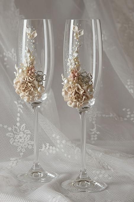 Copas de boda hechas a mano elementos decorativos de cristal regalo original: Amazon.es: Hogar