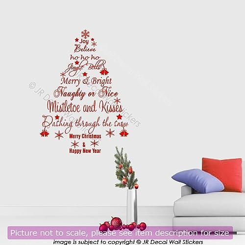 Amazon.com: Merry Christmas Quote Wall Decal Xmas Tree Vinyl Wall ...
