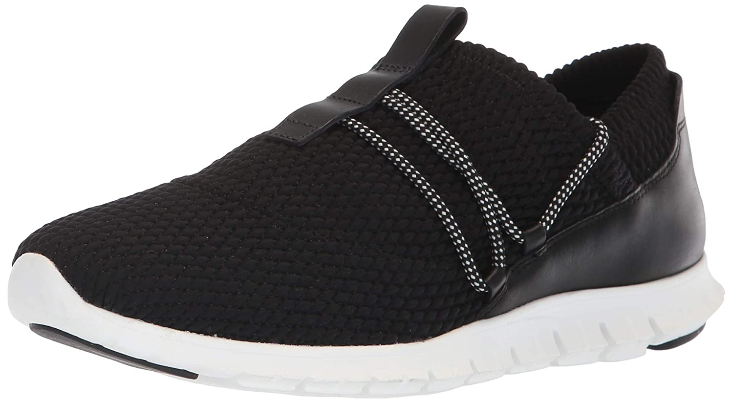 Black Quilted Stretch Leather Optic White Cole Haan Womens Zerogrand Quilted Sneaker Sneaker