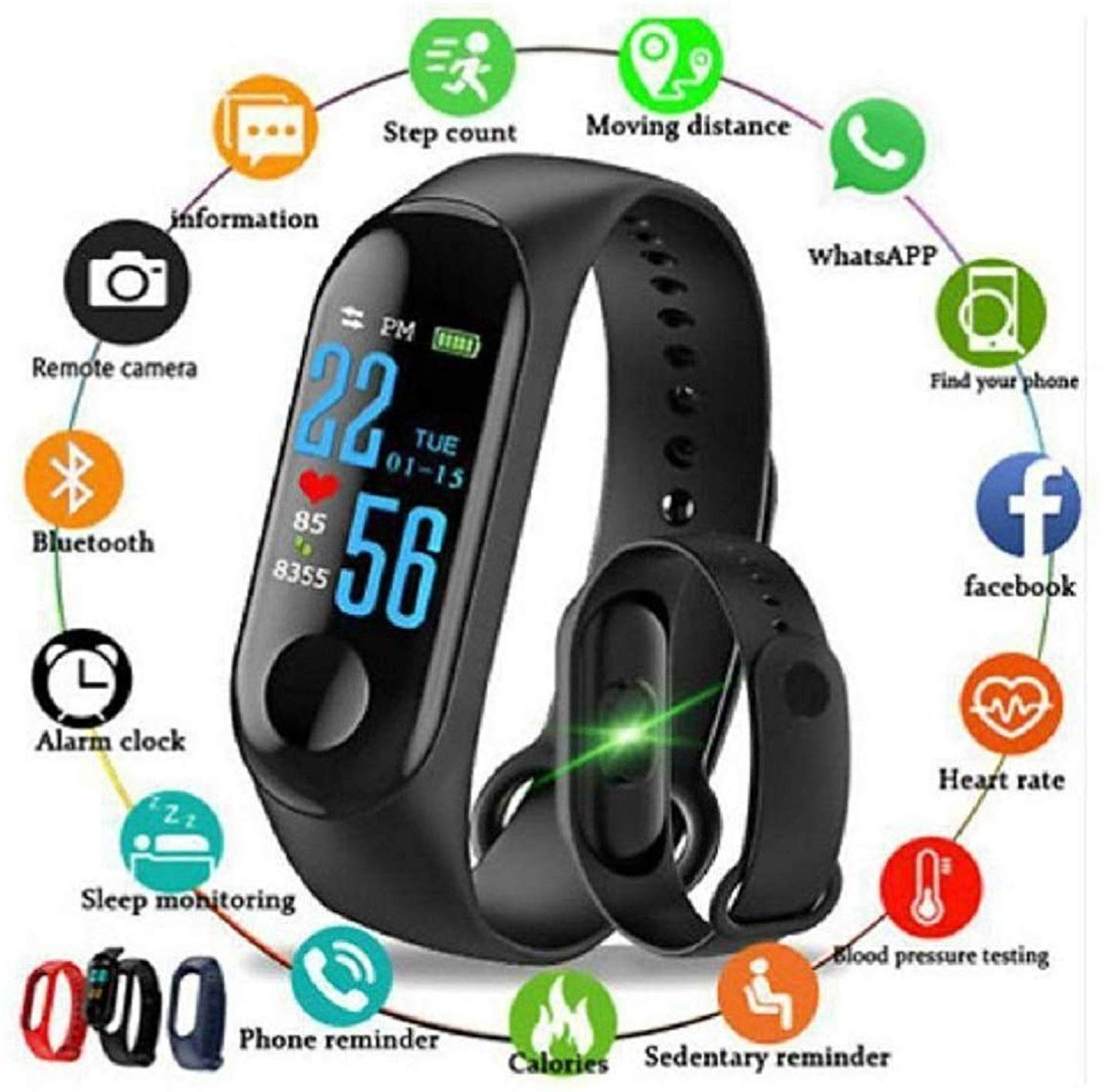 SHOPTOSHOP Smart Band Fitness Tracker Watch Heart Rate with Activity Tracker Waterproof Body Functions Like Steps Counter, Calorie Counter, Blood Pressure,