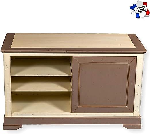 GONTIER - Mueble para TV de 1 Puerta, Cerezo Macizo, 100% Fabricado en Francia, Merisier Laques Blanc-crème et Kenya, 107x64x48: Amazon.es: Hogar