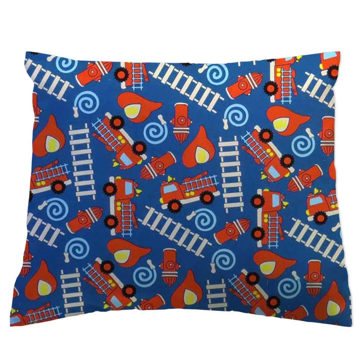 SheetWorld Crib Toddler Pillow Case, 100% Cotton Woven, Fire Trucks Blue, 13 x 17, Made in USA by SHEETWORLD.COM