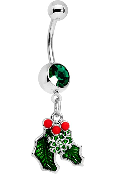 Amazon Com Body Candy 14g 12mm 316l Steel Navel Ring Green Accent