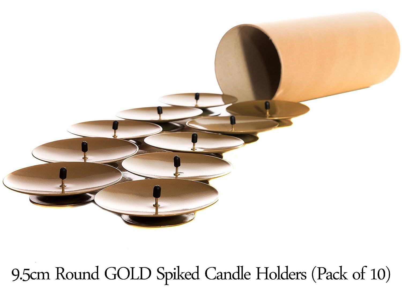 9.5 cm dor/é Lot de 10 bougeoirs ronds porte-bougies /à pic