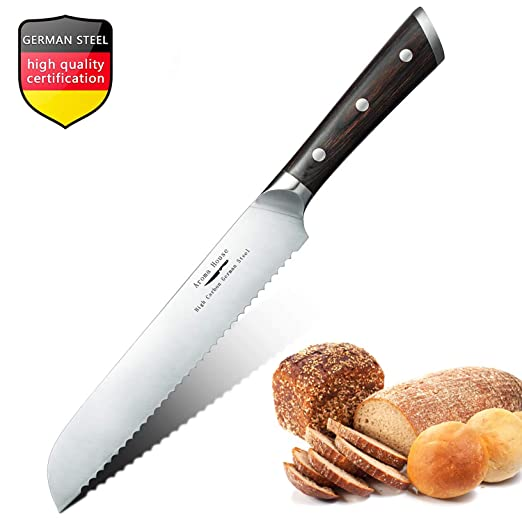 Cuchillo panero profesional de 20 cm, Cuchillo para Pan, Cuchillos de cocina Longitud Cuchillo de diente Cuchilla dentada Cuchillo de pastelería de ...