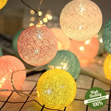 Cadena de Luces para Algodón Bola, Morbuy Decoración LED Blanco Cálido Guirnalda Luminosa Pilas 6cm Bola Hada Noche 20 Luz para Las Fiestas Casas Bodas (3.3M / 20 Luces, Serie Azul Refrescante):