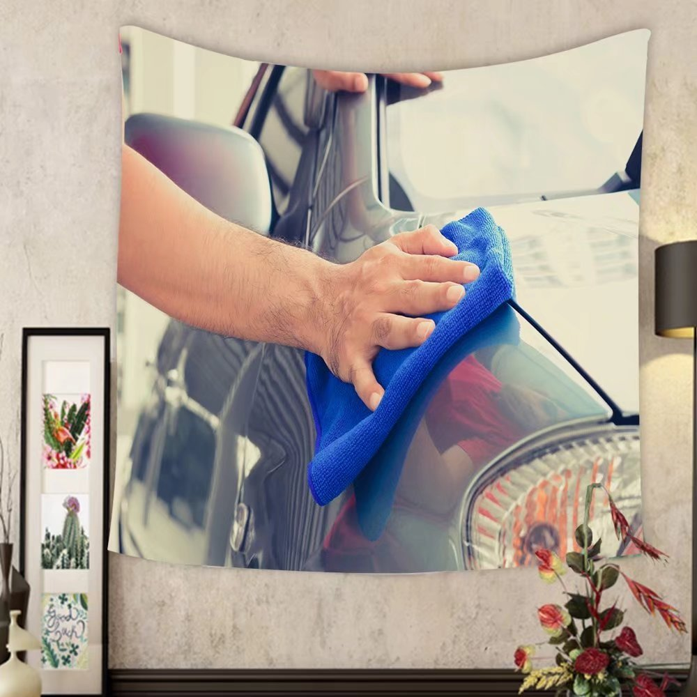 Carolyn J. Morin Custom tapestry a man hand cleaning car with microfiber cloth