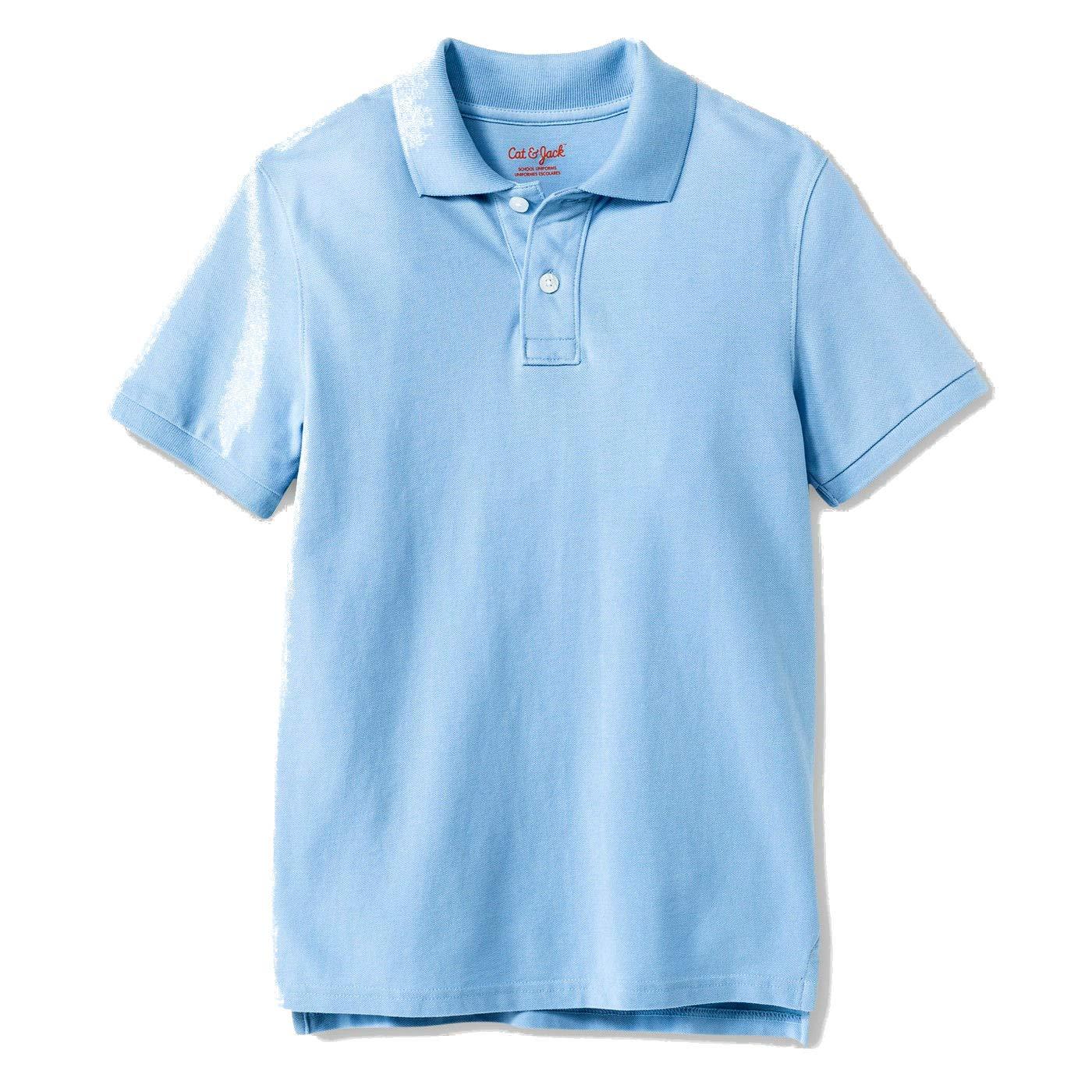 1dcfb7c2d Amazon.com: Cat & Jack Boy's Interlock Uniform Polo Shirt, Light Blue:  Clothing