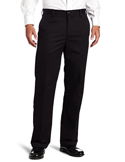 IZOD Men's American Chino Flat Front Straight-Fit Pant, Black, 34W x 29L