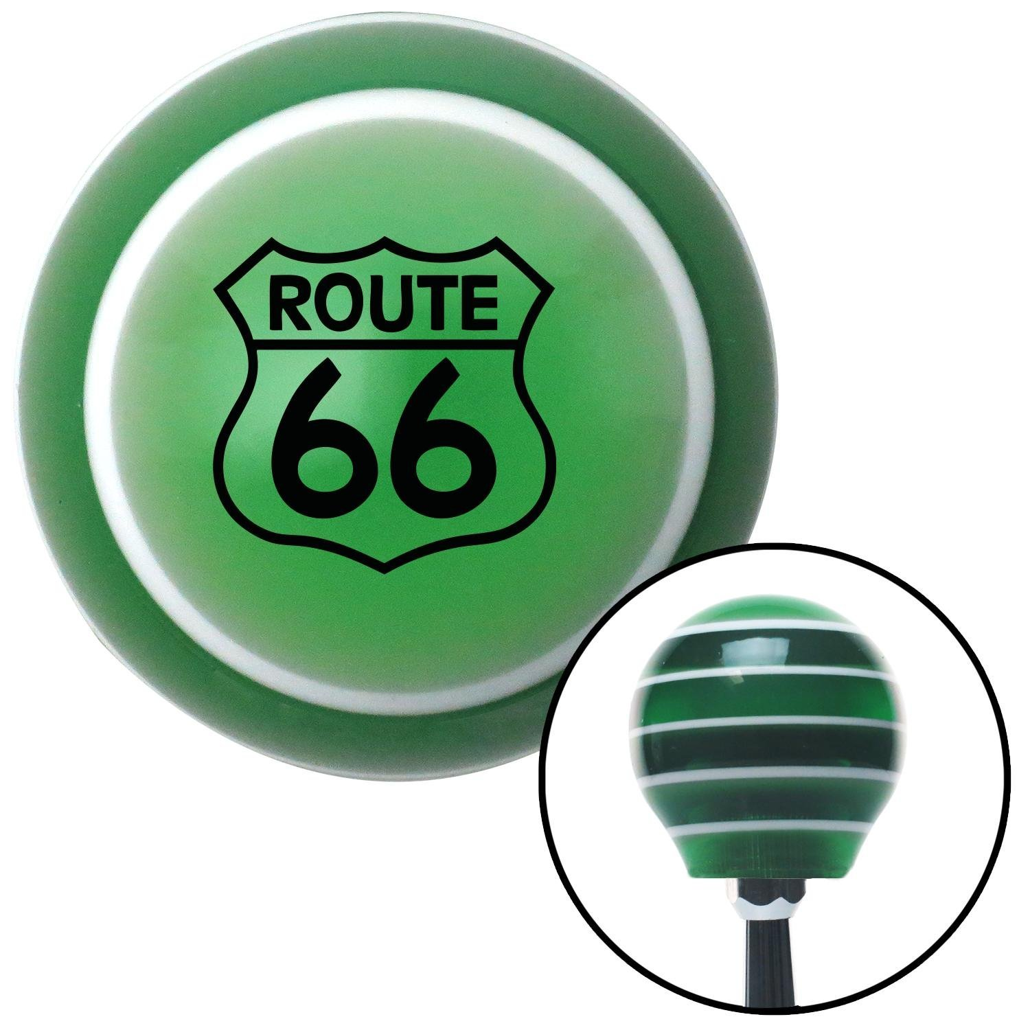 Black Route 66 Sign American Shifter 129533 Green Stripe Shift Knob with M16 x 1.5 Insert