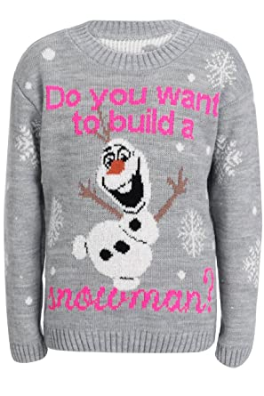 18bf09880d23 Children Kids Frozen Inspired Do You Want To Build A Snowman Jumprt Age 5-13
