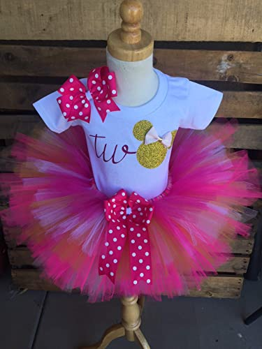 4880e775d87c9 Image Unavailable. Image not available for. Color: Minnie Mouse Birthday  Tutu Outfit Set Dress Shirt Second Birthday 2nd ...