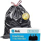 Reli. 33 Gallon Trash Bags Drawstring   150 Count   Black   33 Gallon Garbage Bags Heavy Duty   Large 33 Gal   Multipurpose