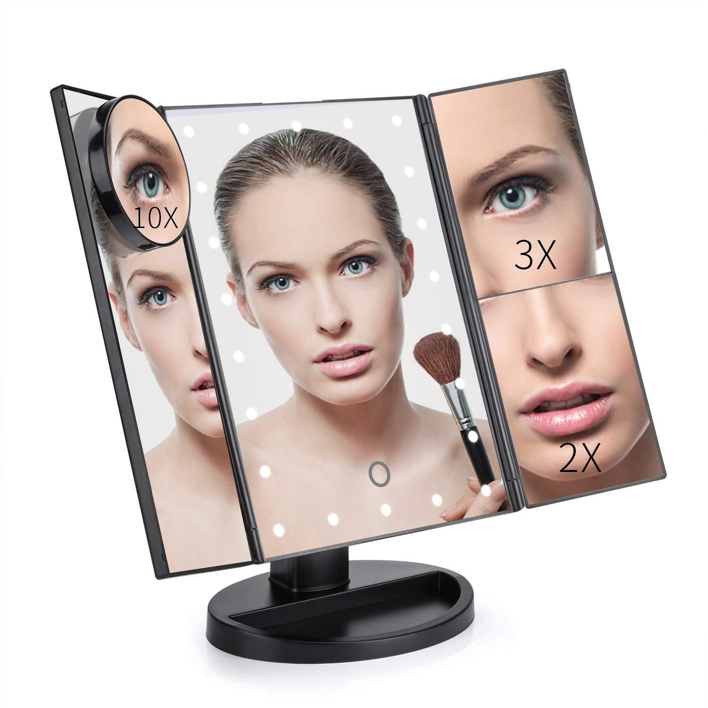 GoLine Makeup Mirror, Mom Birthday Gifts, Vanity Mirror, Make Up Mirror with LED Light, Bathroom Vanity Mirror, Trifold Mirror, Small Lighted Makeup Mirror, Birthday Gifts for Women, Black.(MM02)