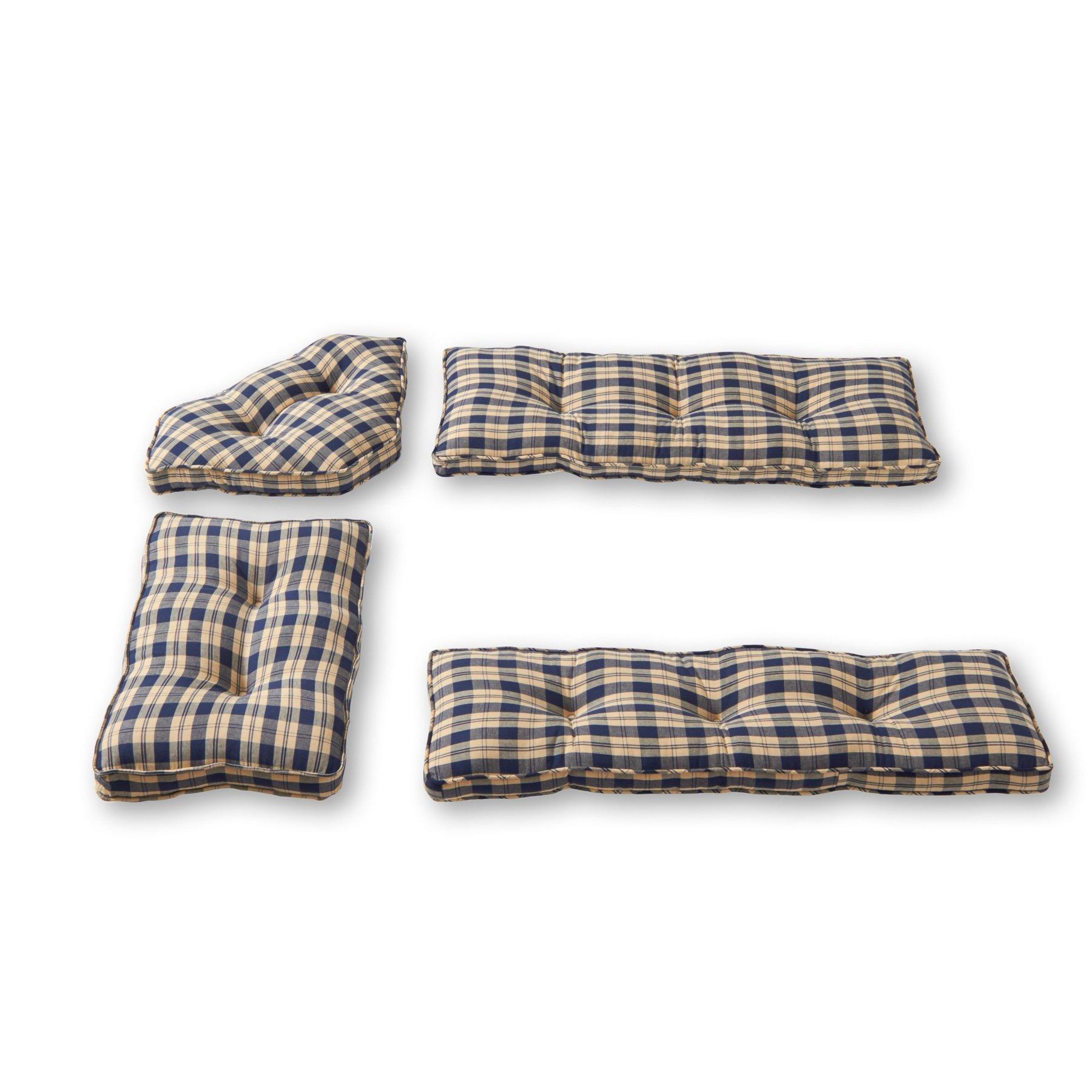 Greendale Home Fashions 4-Piece Nook Cushion Set, Applegate Plaid , Navy Blue by Greendale Home Fashions