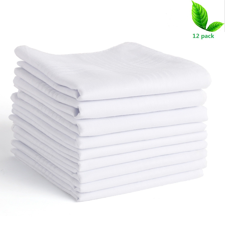 Scotamalone Men's Handkerchiefs 100% Cotton Classic Hankies-12 Pack
