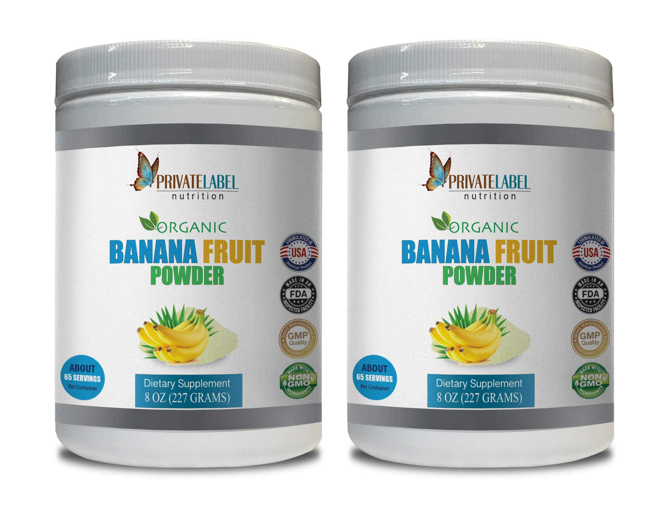 Blood Pressure Vitamins Organics - Banana Fruit Organic Powder - Banana Supplements - 2 Cans 16 OZ (130 Servings)