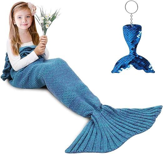 Amazon.com: Mermaid Tail Blanket, Amyhomie Mermaid Blanket Adult Mermaid  Tail Blanket, Crotchet Kids Mermaid Tail Blanket for Girls (Blue, Kids):  Home & Kitchen