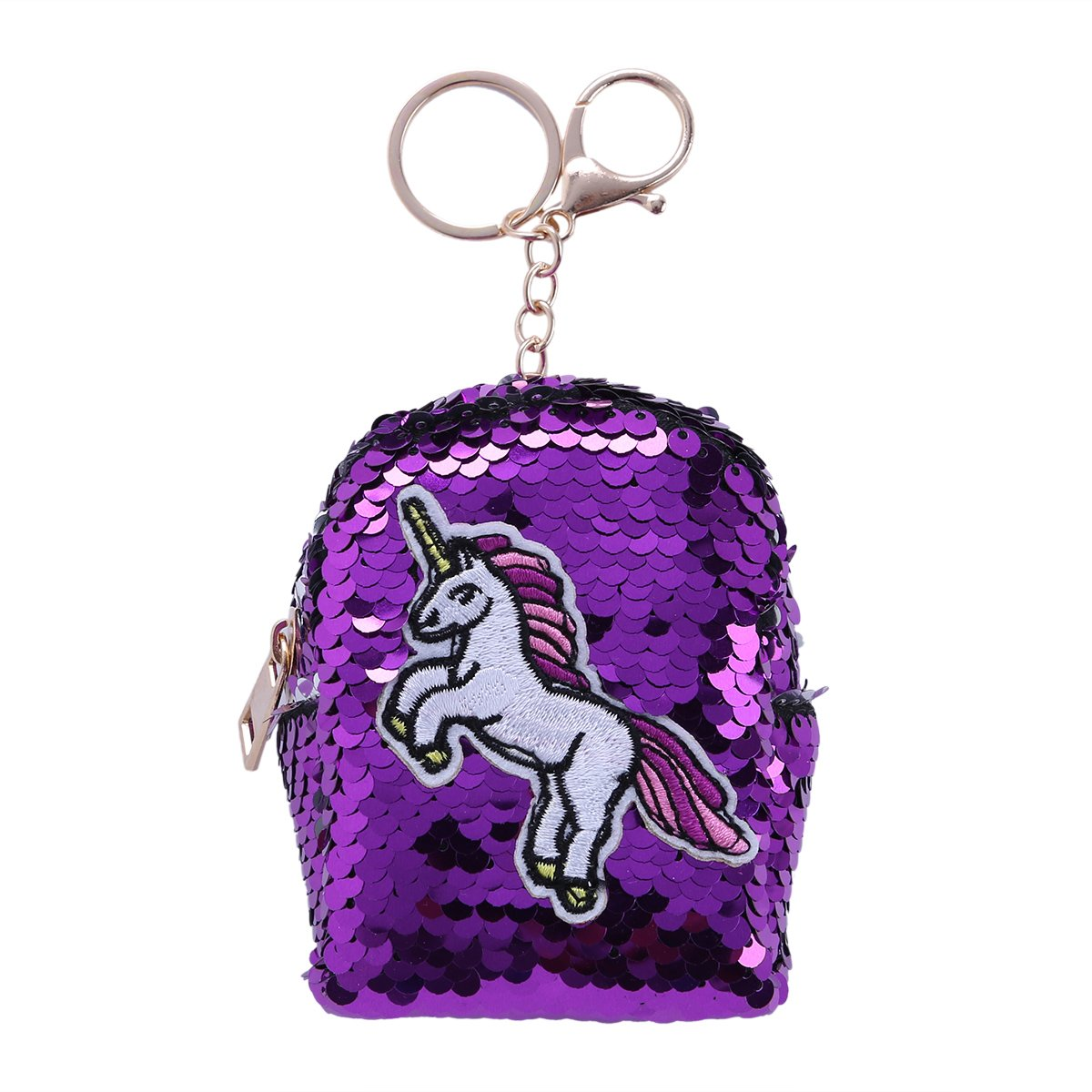 YiZYiF Mini Coin Purse DIY Reversible Sequin Wallet Pouch Glitter Embroidery Key Chain Purple One Size