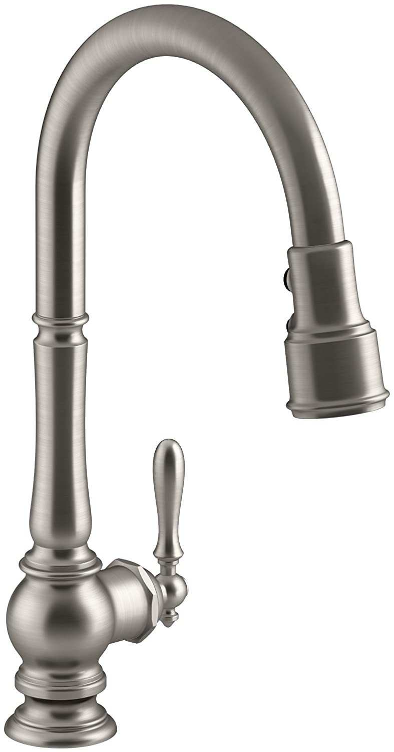 Kohler K-99259-VS Artifacts Single-Hole Kitchen Sink Faucet with  17-5/8-Inch Pull-Down Spout, 3-Function Sprayhead, and Turned Lever Handle,  ...