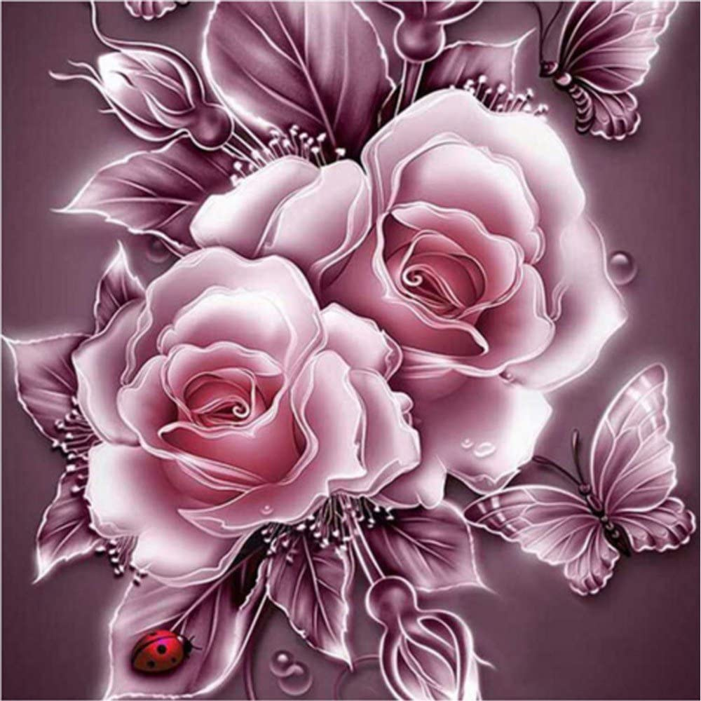 Retro Rose Flower 5D Diamond Painting Kit Partial Drill Rhinestone Embroidery Diamond Dotz Wall Picture Home Decor 12 x 12 Inch //30x 30cm A