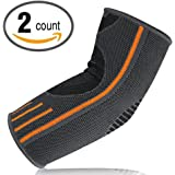 Lonew Elbow Brace Compression Sleeve - Elbow Sleeve Support for Workouts, Weightlifting, Arthritis, Tendonitis, Tennis and Golfer's Elbow,Reduce Joint Pain During ANY Activity (2 Piece)