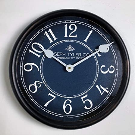 Blue White Wall Clock, Available in 8 Sizes, Most Sizes Ship The Next Business Day,