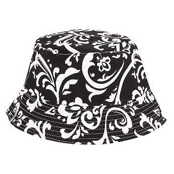 Black /& White Floral Fisherman/'s Fishing Bucket Hiking Cotton Polo Hat Sz S//M