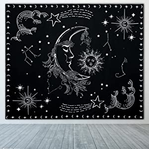 Fuyamp Sun and Moon Zodiac Tapestry Wall Hanging Black and White Constellation Tapestry Astrology for Bedroom Witchy Tapestries Indie Room Decor Teen Girl Small Dorm(Small 50''x60'')