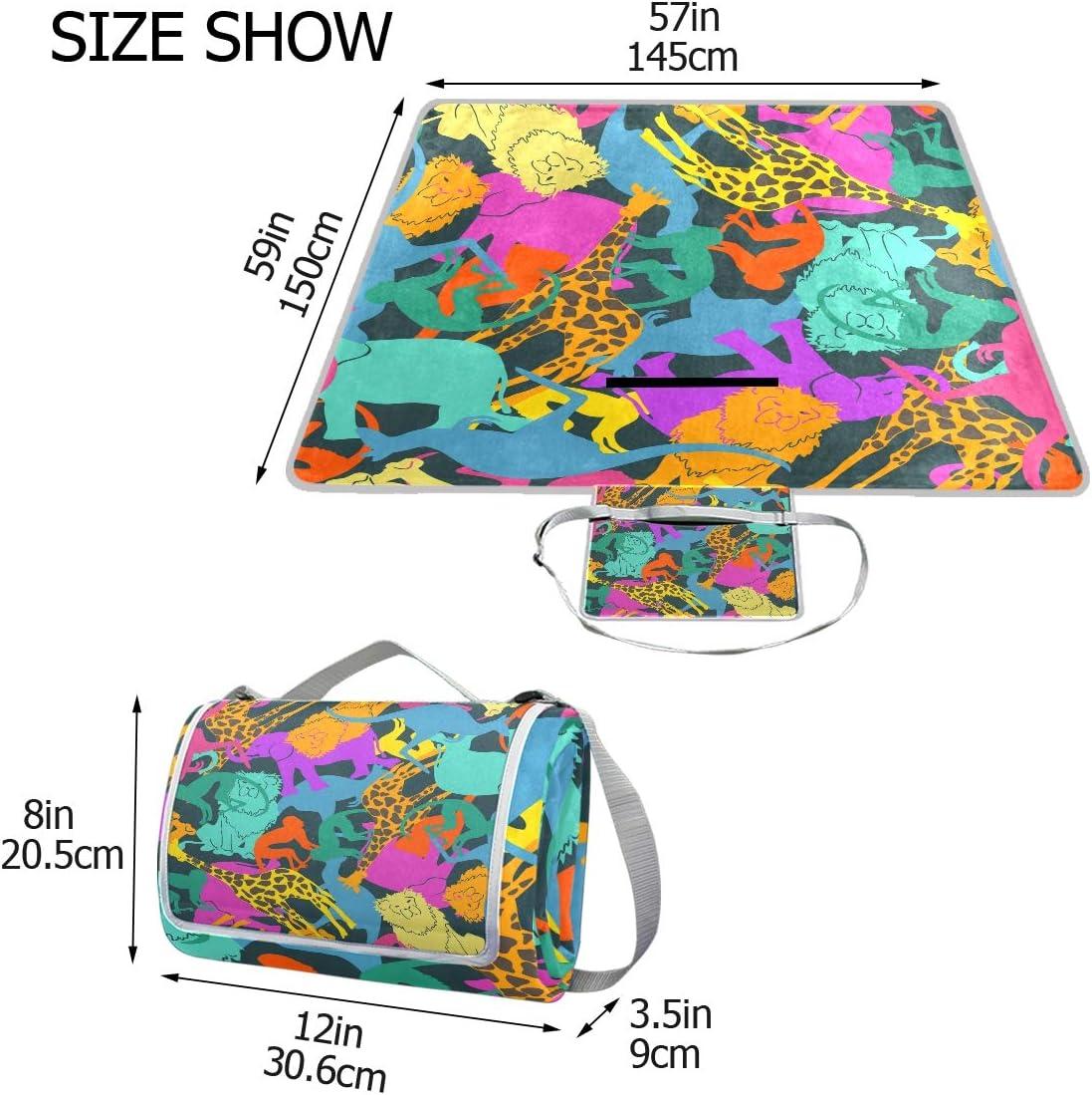 XINGAKA Coperta da Picnic Tappetino Campeggio,Reticolo Senza Giunte della Renna Divertente sul Colore Rosa,Giardino Spiaggia Impermeabile Anti Sabbia 6