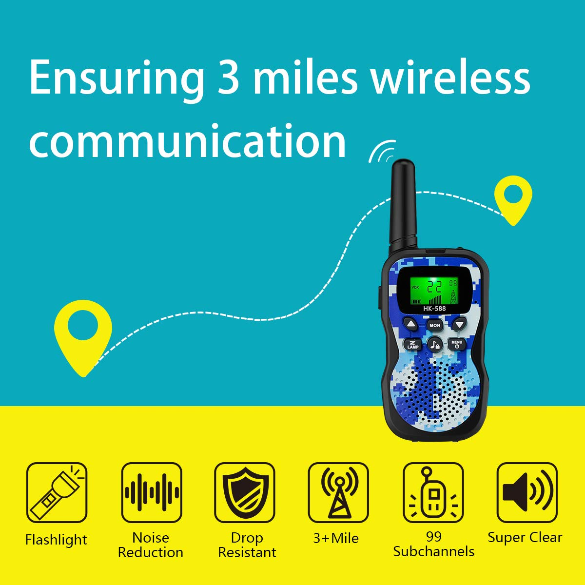 Walkie Talkies For Kids , Range Up to 3 Miles With Backlit LCD Display And Flashlight Walkie Talkies For Boys Girls Outdoor Toys For 3-12 Year Old Boys Girls Bset Gifts For 3-12 Year Old Boys Girls by Sun-Team (Image #5)
