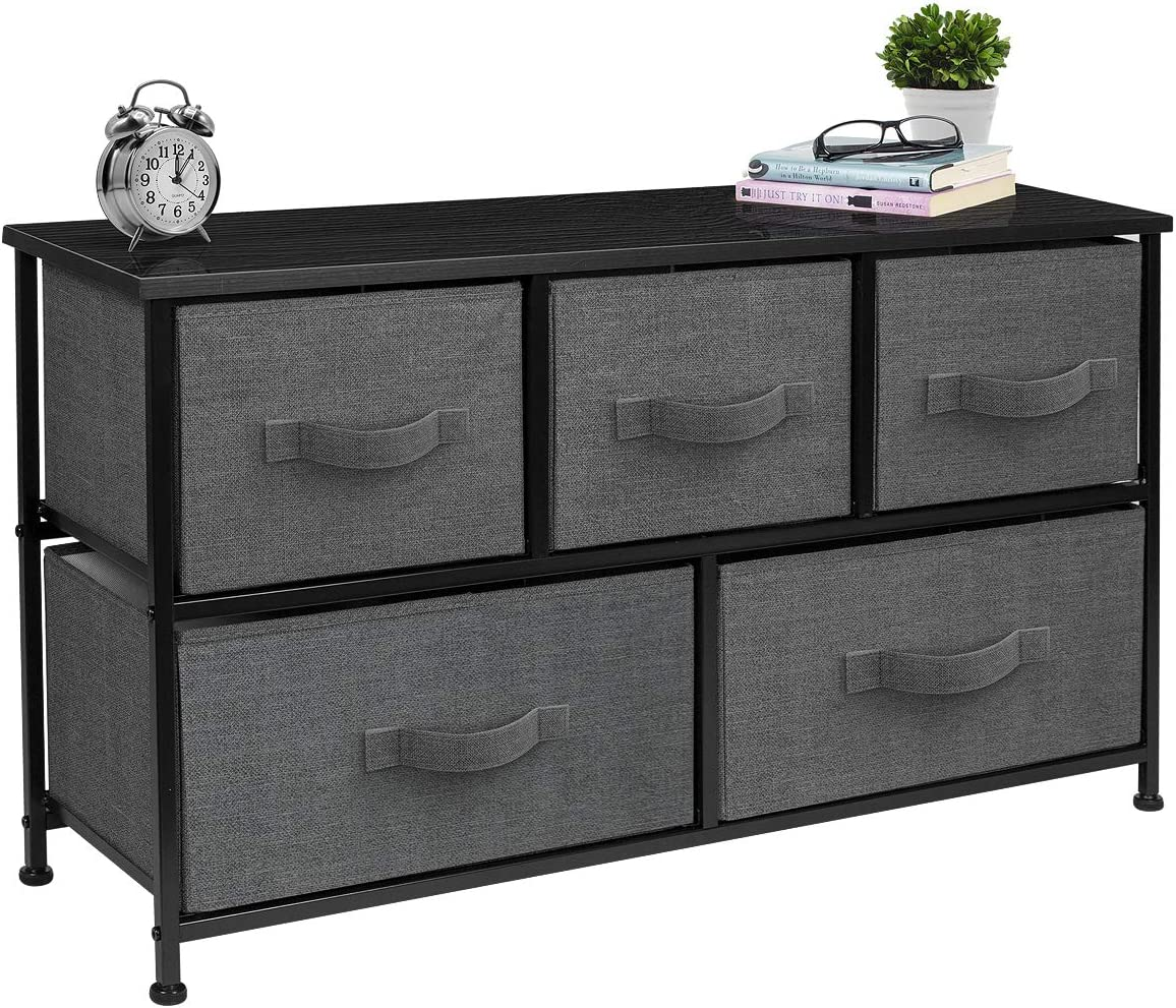 Sorbus Dresser with 5 Drawers – Furniture Storage Chest Tower Unit for Bedroom, Hallway, Closet, Office Organization – Steel Frame, Wood Top, Easy Pull Fabric Bins Black Charcoal