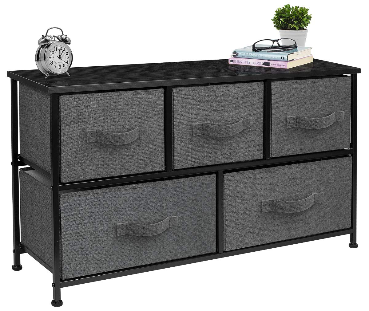 Sorbus Dresser with Drawers - Furniture Storage Tower Unit for Bedroom, Hallway, Closet, Office Organization - Steel Frame, Wood Top, Easy Pull Fabric Bins (5-Drawer, Black/Charcoal)